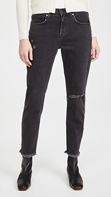 Veronica Beard Jean Benzi Jeans With Destroy At Knee And Raw Hem