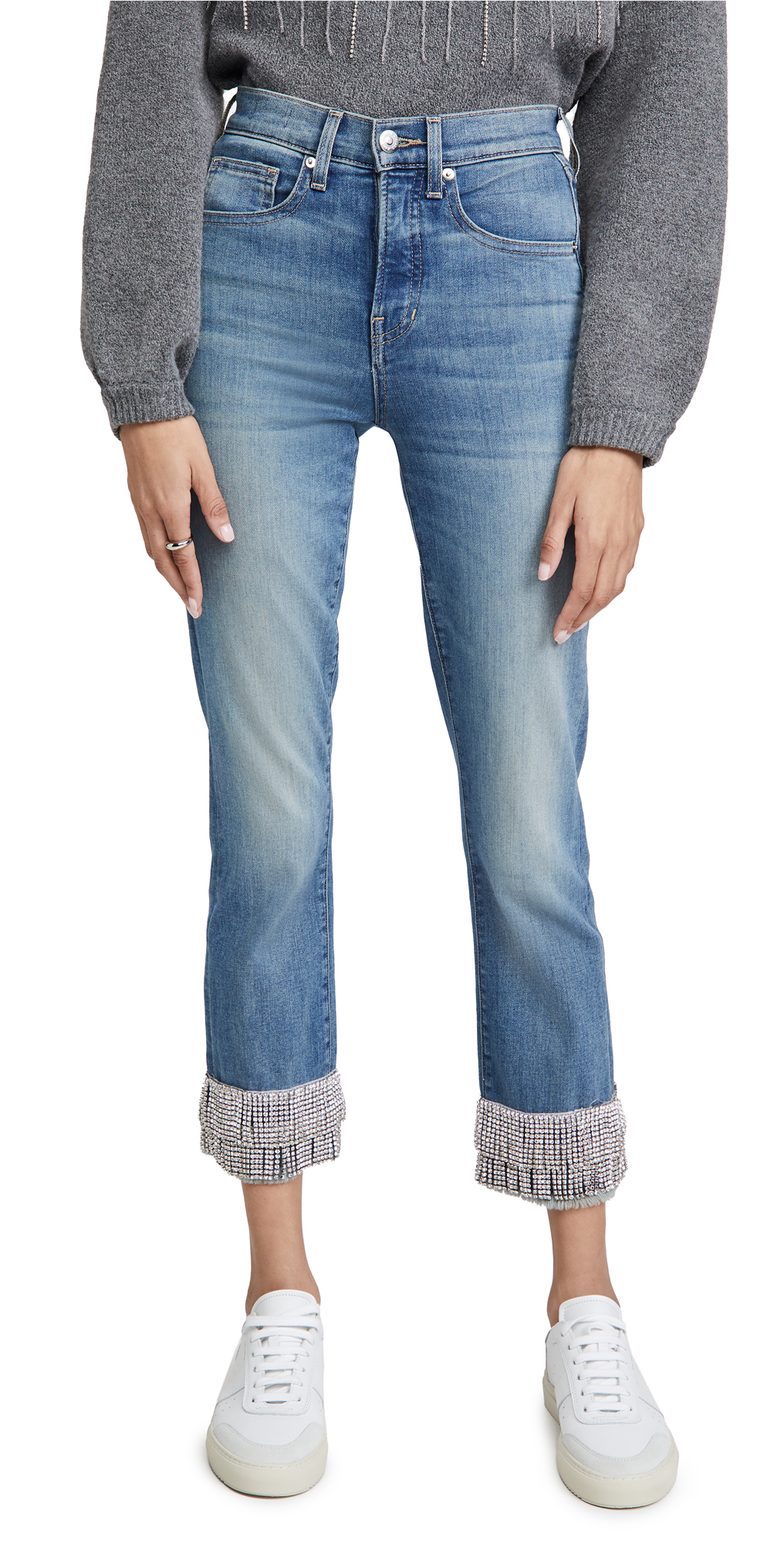 Veronica Beard Jean Ryleigh Pants with Fringe Rhinestone