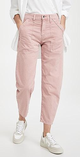 Veronica Beard Jean - Charlie Barrel Pants with Patch Pockets