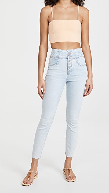 Veronica Beard Jean Katherine Corset Jeans with Raw Hem
