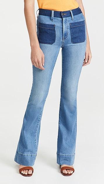 Veronica Beard Jean Florence Flare Colorblock Jeans