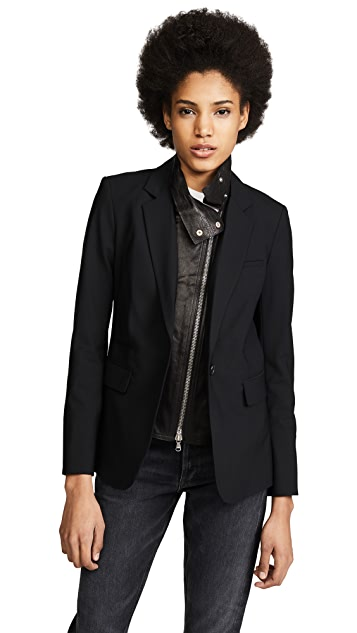 Veronica Beard Classic Jacket with Leather Dickey