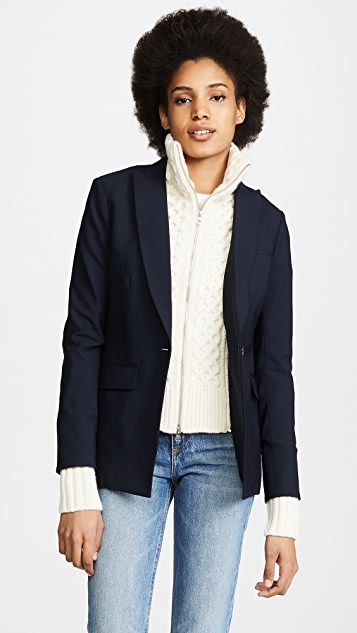 Veronica Beard Classic Wool Jacket with Upstate Dickey - Navy/Ivory