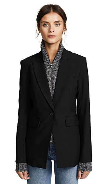 Veronica Beard Long & Lean Jacket with Melange Uptown Dickey