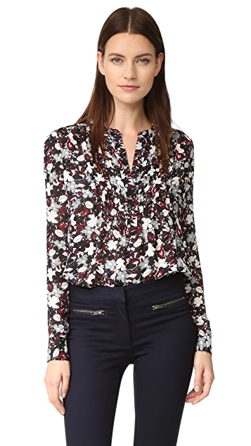 Veronica Beard Goldie Pintuck Tux Blouse