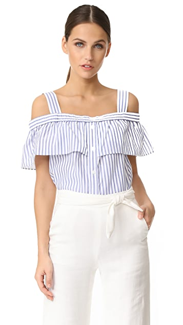 Veronica Beard Lacey Cold Shoulder Top