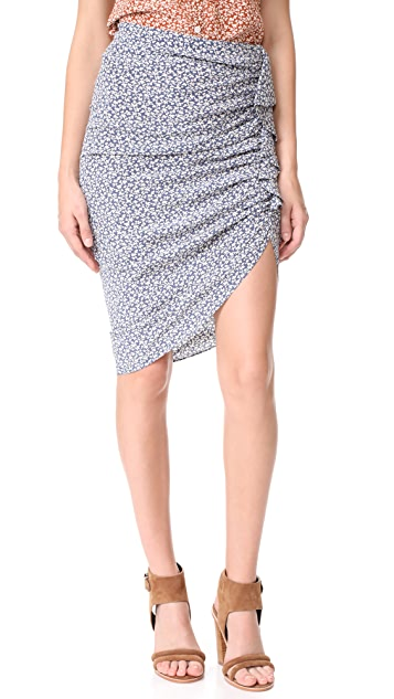 Veronica Beard Hazel Side Ruched Ruffle Skirt