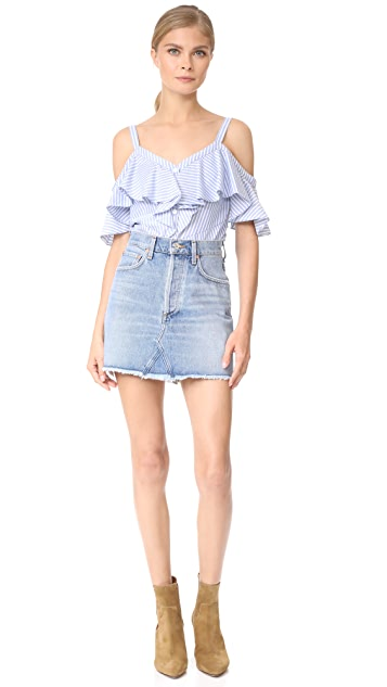 Veronica Beard Grant Off Shoulder Ruffle Shirt