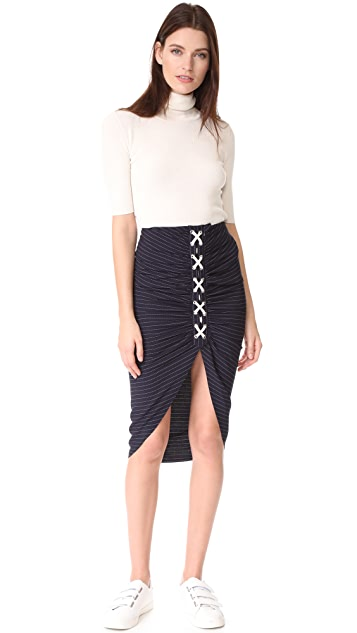 Veronica Beard Marlow Lace Up Ruched Skirt