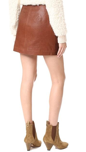 Veronica Beard Monroe Leather Cargo Skirt