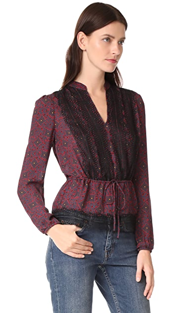 Veronica Beard Lindberg Lace Trim Blouse