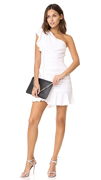 Veronica Beard Kingston Asymmetrical Ruffle Mini Dress