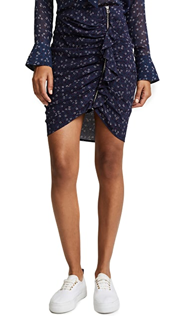 Veronica Beard Spencer Ruched Zipper Skirt