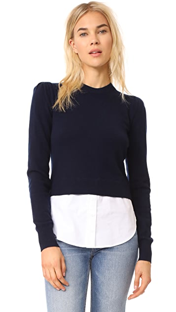 Veronica Beard Puff Sleeve Combo Sweater