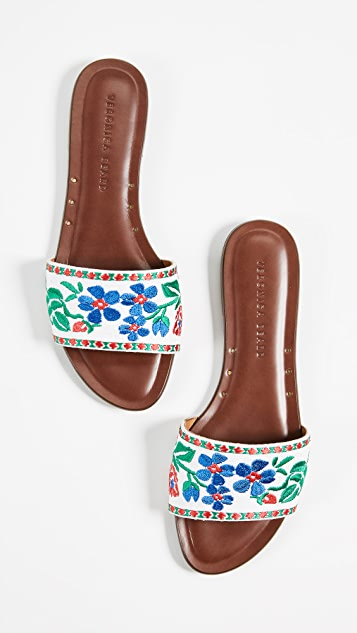 Veronica Beard Frida Linen Slide Sandals