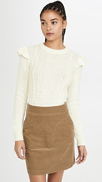 Veronica Beard Knits Earl Crew Neck Cable Sweater