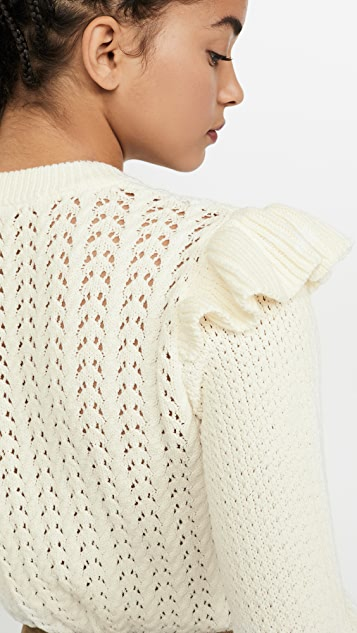 Veronica Beard Earl Crew Neck Cable Sweater