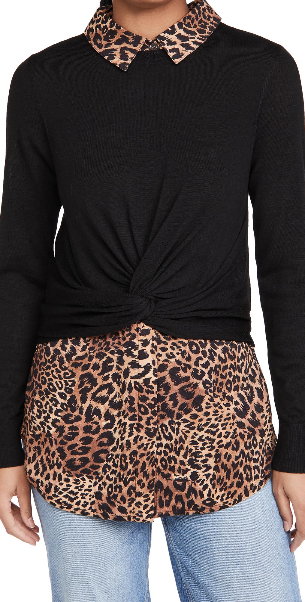 Veronica Beard Phebe Mixed Media Pullover Sweater