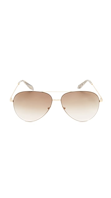 Victoria Beckham Classic Victoria Feather Light Aviator Sunglasses