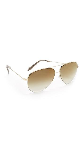 Victoria Beckham Classic Victoria Aviator Sunglasses - Gold/Copper