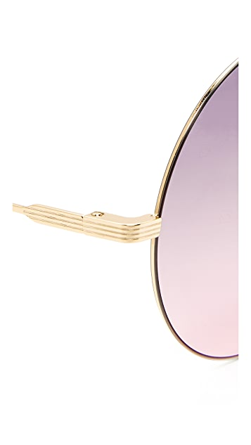 Victoria Beckham Feather Round Sunglasses
