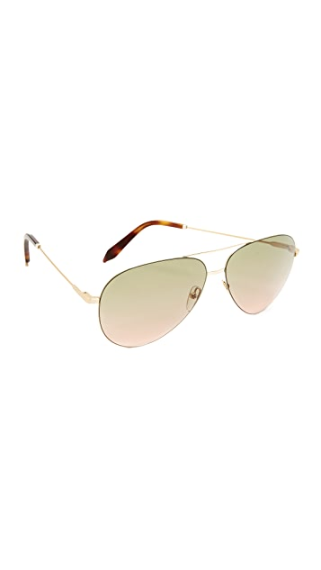 Victoria Beckham Classic Victoria Feather Aviator Sunglasses
