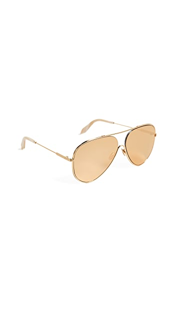 Victoria Beckham 24k Gold Loop Aviator Sunglasses