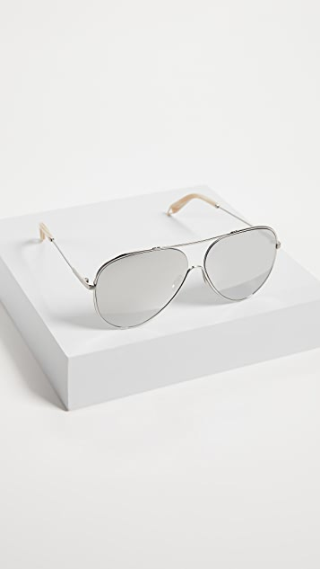 Victoria Beckham Platinum Loop Aviator Sunglasses
