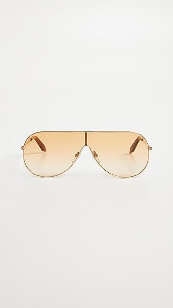 Victoria Beckham Grooved Visor Sunglasses
