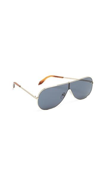 Victoria Beckham Grooved Metal Visor Sunglasses