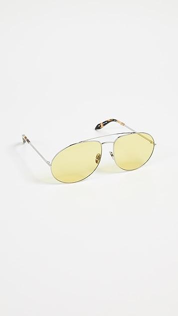 Victoria Beckham Soft Metal Aviator Sunglasses