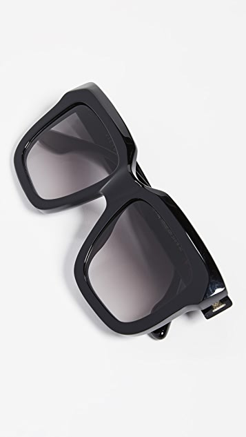 Victoria Beckham Large Bevelled Square Sunglasses