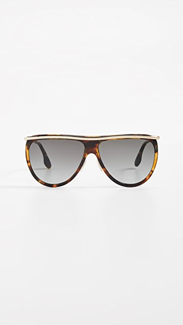 Victoria Beckham Half Moon High Brow Sunglasses