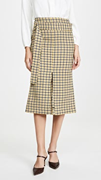 Belted Fitted Box Pleat Midi Skirt