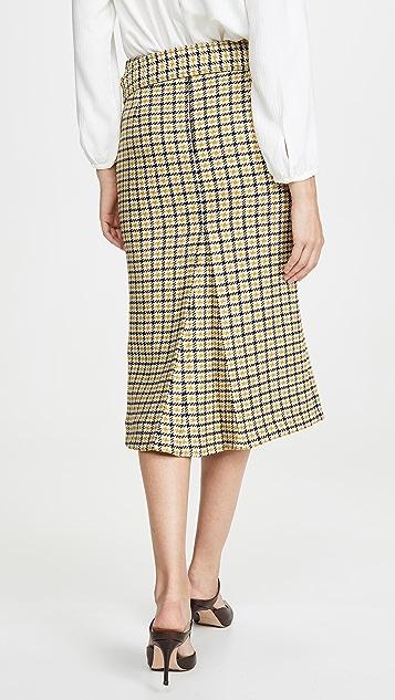 Victoria Beckham 系腰带合身外工字褶中长半身裙