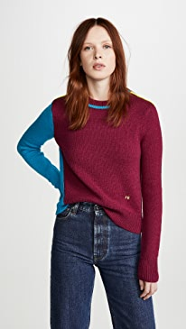 Colorblock Cropped Crew Neck Sweater