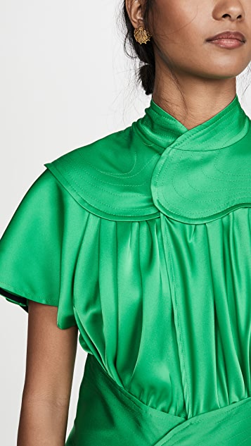 Victoria Beckham 撞色拼接及地连衣裙
