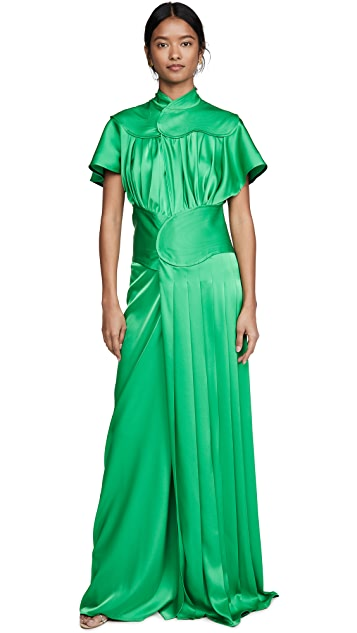 Victoria Beckham Contrast Panel Floor Length Dress