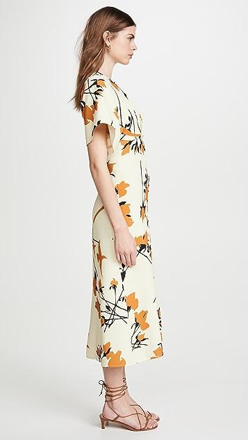 Victoria Beckham 印花蝙蝠中长连衣裙