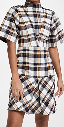 Victoria Beckham - Short Sleeve Paneled Mini Dress