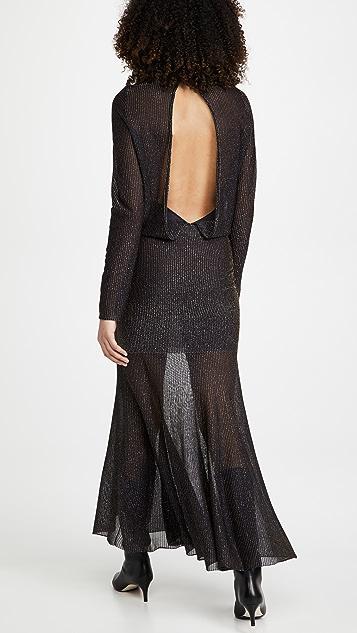 Victoria Beckham Long Sleeve Open Back Midi Dress