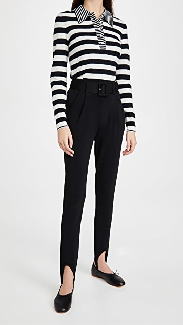Victoria Beckham Lightweight Cashmere Blend Striped Polo