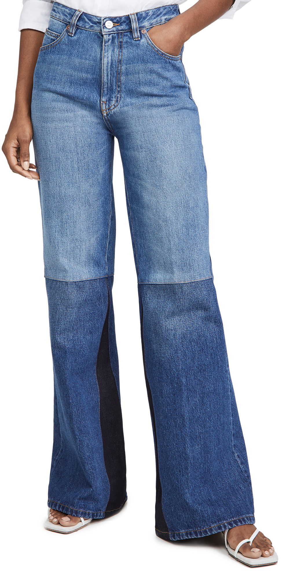Victoria Beckham Patchwork High-rise Flared Wide-leg Jeans In Washed Indigo
