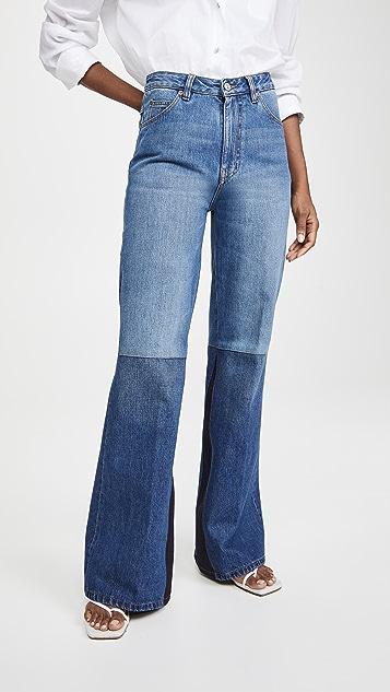 Victoria Beckham Patchwork Flare Jeans