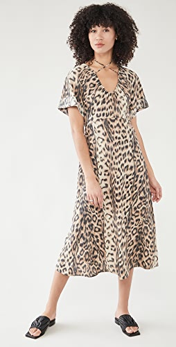 Victoria Beckham - 绑带细节短袖中长连衣裙