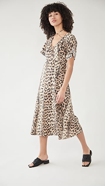 Victoria Beckham Tie Detail Short Sleeve Midi Dress