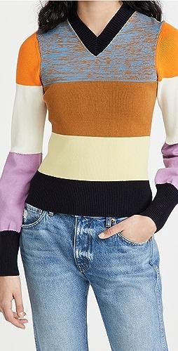 Victoria Beckham - Patchwork Knit V Sweater