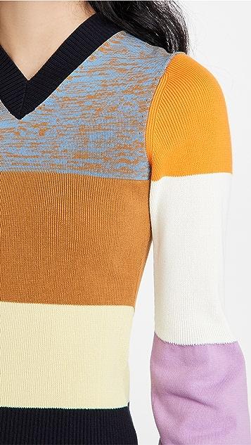 Victoria Beckham Patchwork Knit V Sweater