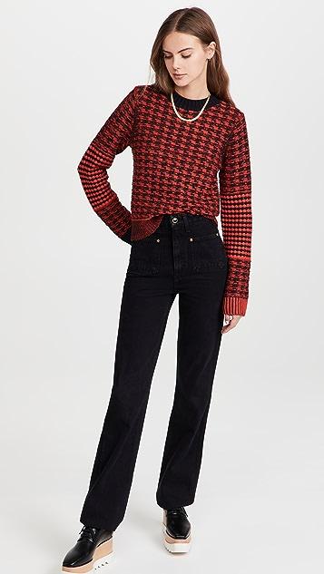 Victoria Beckham Contrast Elbow Patch Crew Neck Sweater