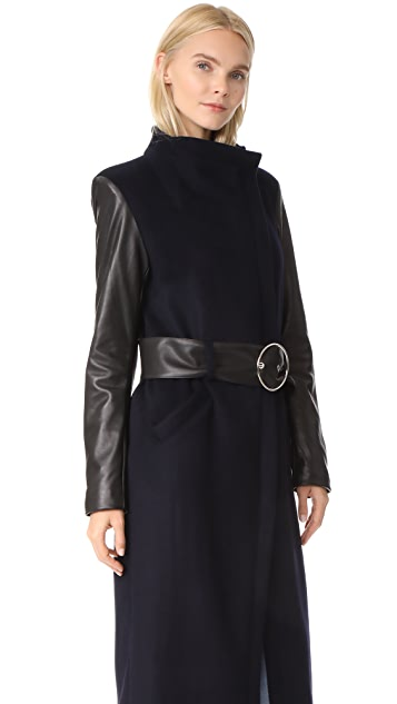 VEDA Cadillac Wool & Leather Coat